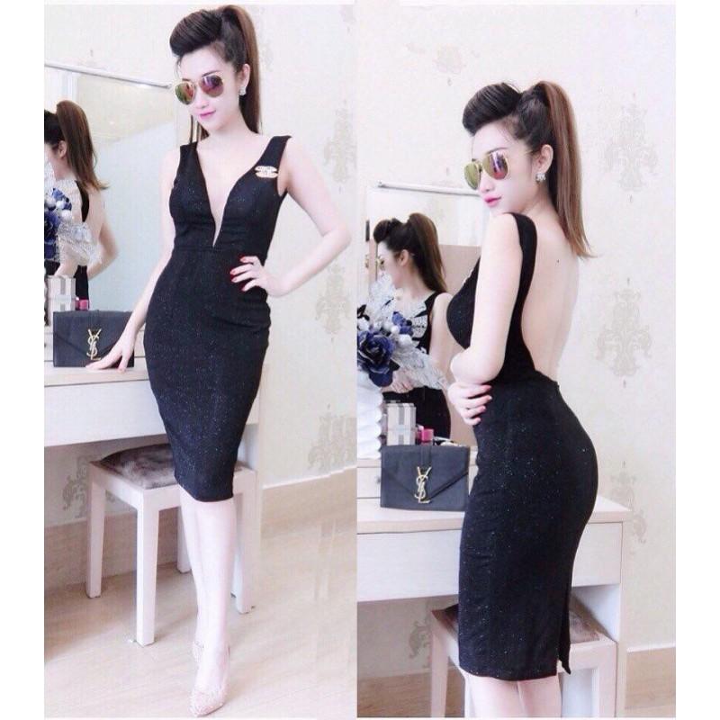 Backless dress black 10