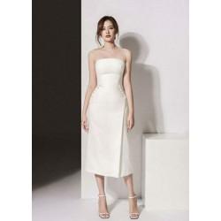 Đầm ống trắng chữ a ngọc trai