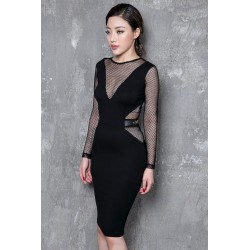 Black sexy dress with mesh