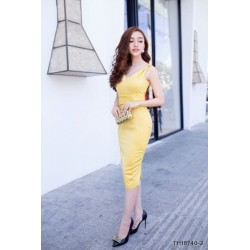 Yellow slinky dress 287