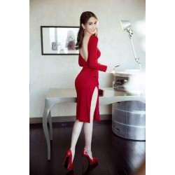 Split red dress 350
