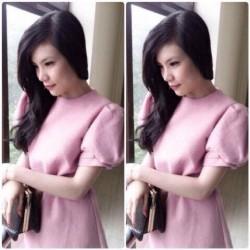Robe rose à manches