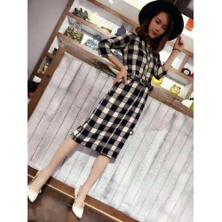 Long plaid dress 605