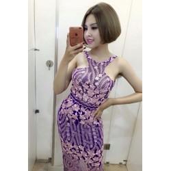 Đầm ren dài cổ yếm 621