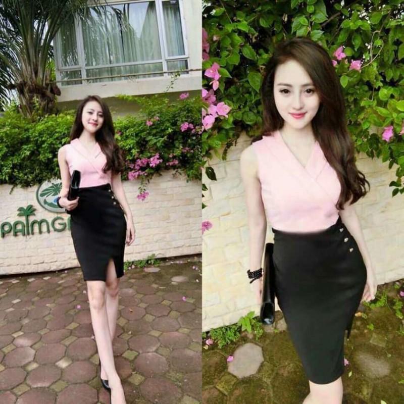 Đầm cổ vest body ngắn 638