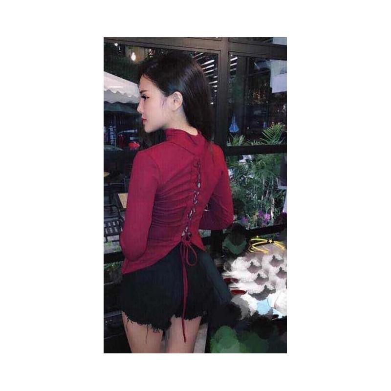 Áo thun đan dây ở ngực sexy 741