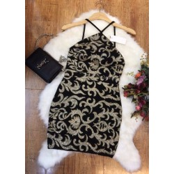Black and gold patterned dress 99